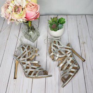 Liliana Silver Cage Heels